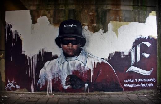 Graffiti art of legendary Gangster rapper, Eazy E.