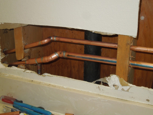 Repiping in a bathroom