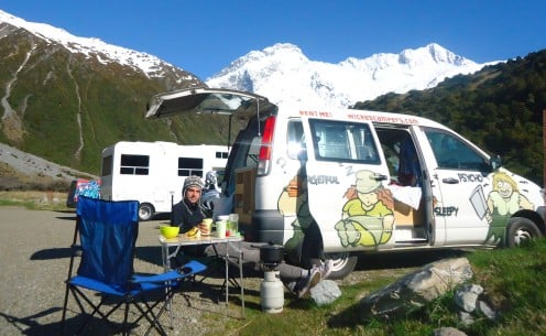 Cooking in a campervan at Mount Cook in New Zealand