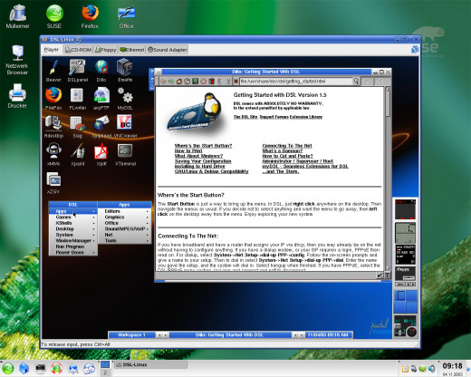 A Linux system virtual machine  running in a Windows based computer.