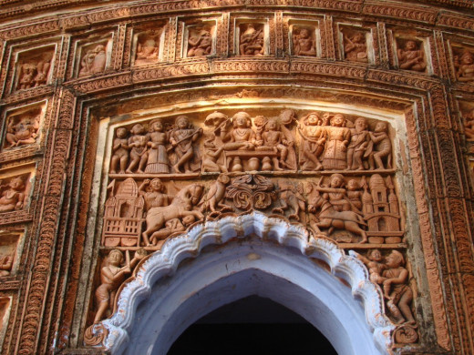 terracotta panel of front facade; Bonkati temple