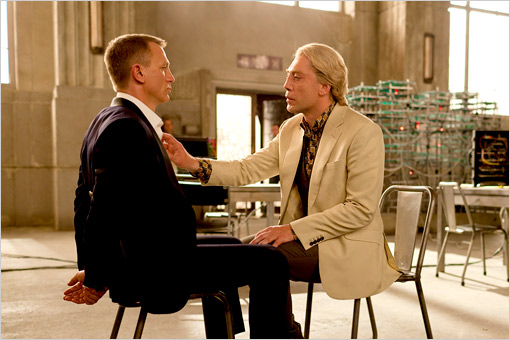 Daniel Craig and Javier Bardem face off in the latest James Bond installment, Skyfall, in theaters now.