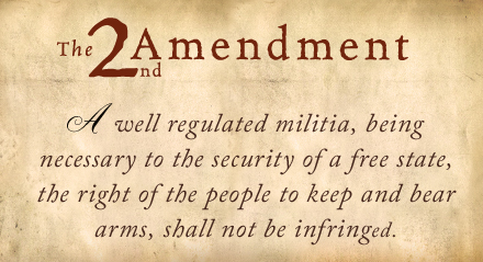 In arguing my point with friends and foes over the past few days it has become clear that many on both sides of the debate are entirely unaware of the actual language of the 2nd Amendment.... just a reminder! Note the words 'Well Regulated'.