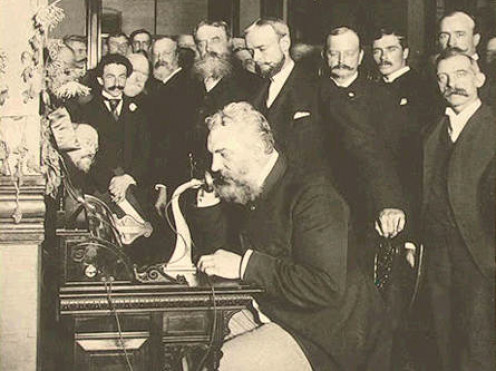 Alexander Graham Bell makes first telephone call from New York City to Chicago, 1892.