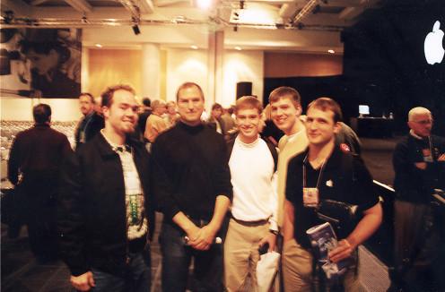 Steve Jobs and Apple campus reps after 1999 MacWorld Keynote speech.