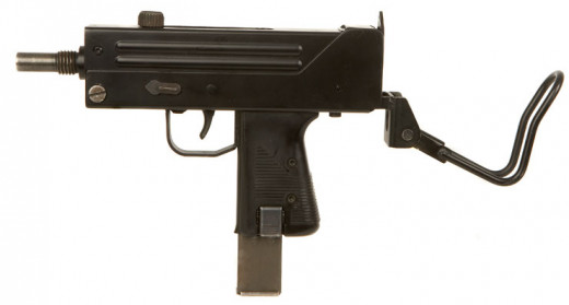 A standard MAC-10 with potential high capacity Magazine (clip)