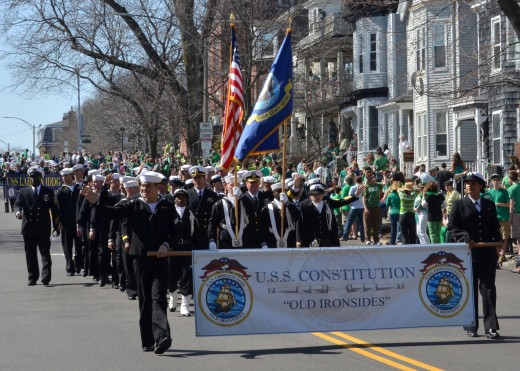 Seaman Michael Achterling photographed these sailors assigned to the USS Constitution marching in the St. Patrick's Day Parade in Boston, Massachusetts on March 18, 2012.