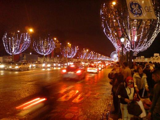Paris. Avenue des Champs Elysees at Christmas