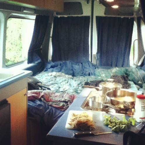 Cooking in a Mercedes Sprinter Campervan