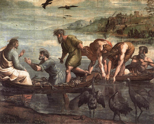 Artist Raphael's painting, The Miraculous Draught of Fishes. Jesus told Peter to cast his net upon the water, and Peter obeyed, still thinking it was a waste of time. Luke 5:1-11.