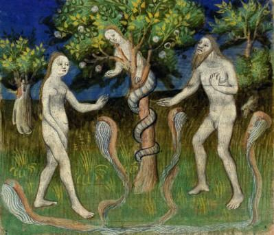 Art depicting Adam and Eve being tempted into disobedience in the Garden of Eden.