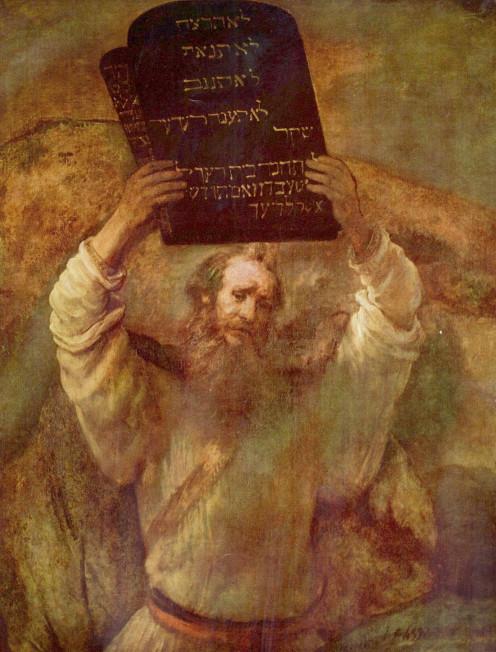 Rembrandt's depiction of Moses carrying a Ten Commandments tablet.