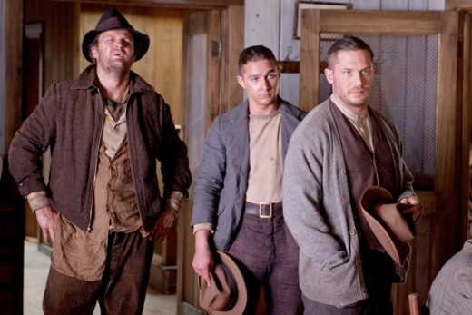 Screen shot of Howard (Clarke), Jack (LaBeouf), and Forrest (Hardy) in Lawless (2012)