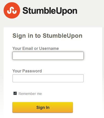 StumbleUpon Sign in Page