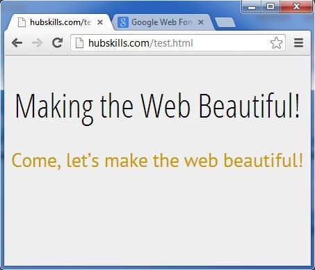 Webpage using the Google web fonts as above