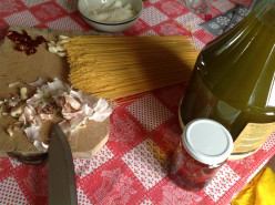 Easy Italian Dishes; Spaghetti with Chili Peppers Garlic and Pecorino