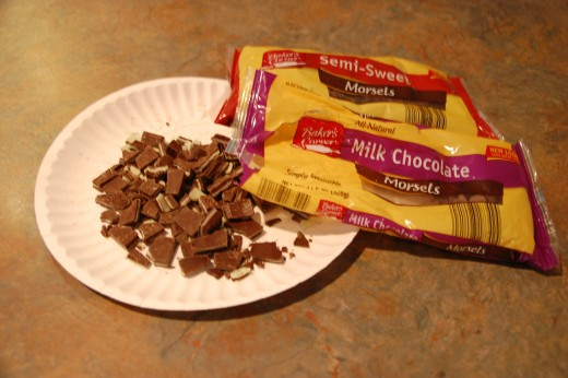Semi-sweet chips, milk chocolate chips and chopped up Andes mints