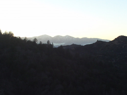 Looking out towards Mount Baldy at sunset.