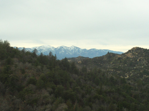 The view of Mount Baldy is clear in this photograph.