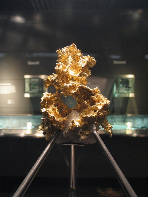 Crystaline Native gold on display at the Natural History Museum, London.