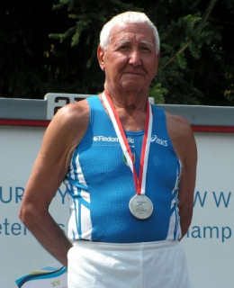 Sergio Agnoli, born 1926, is an Italian middle-distance runner and world record masters marathoner (4 hours, 16 minutes, 57 seconds, at age 82). He took up sports at age 60.
