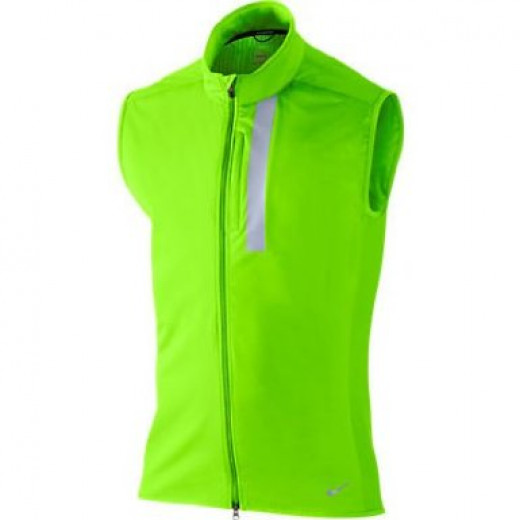 A high visibility running vest with reflective piping to help in dark conditions. Including water repellent coating to hold off the elements