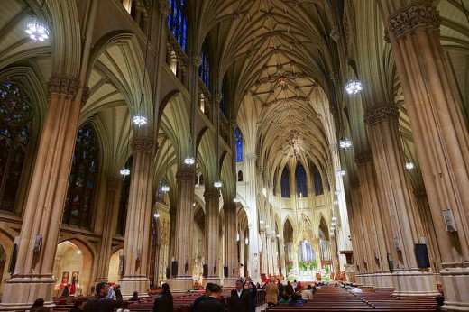 The interior of St. Patrick's Cathedral in New York City was photographed by Jean-Christophe Benoist on April 25, 2012.
