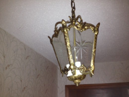 Recycled 1970's brass light fixture creates a brand new vintage look