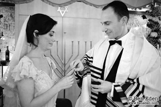 Jewish ceremonies invovle the groom placing the wedding ring on the index finger of the bride. Not the ring finger