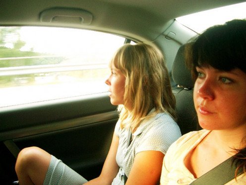 Long road trips can be peaceful. Hey, sometimes siblings do get along!