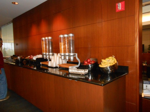Snack bar set up at the United Club Room, O'Hare International Airport, Chicago, Illinois.