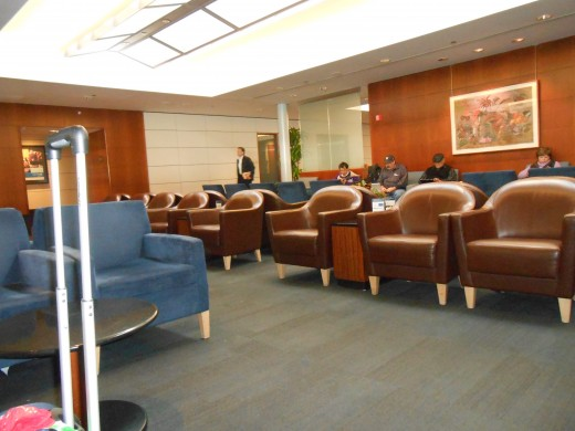 Comfortable chairs in the United Club Room at O'Hare International Airport, Chicago, Illinois.