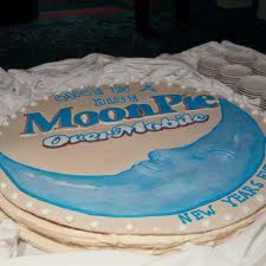 A large, edible moonpie is served downtown.