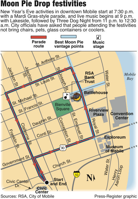 This is last year's graphic.  Parade route and best vantage point to view the Moonpie Drop.  This year features 3 stages of music starting at 5 p.m.