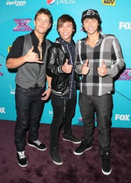 Pic of Emblem 3 from X Factor: Drew, Wesley, and Keaton