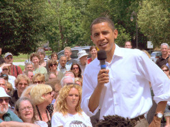President Obama addressing a crowd of concerned citizens in New Hampshire.