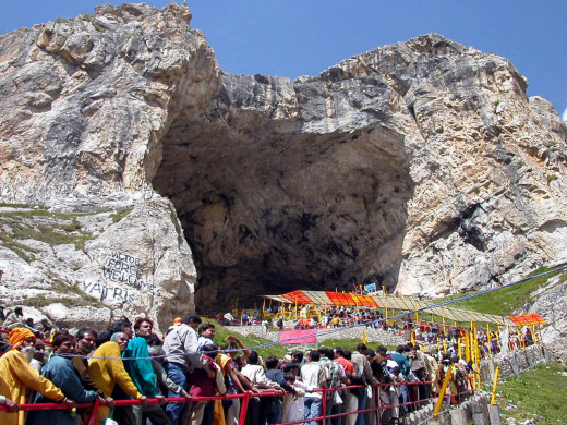 Amarnath cave is a famous shrine in Hinduism located in the Indian state of Jammu and Kashmir. It is dedicated to Shiva.