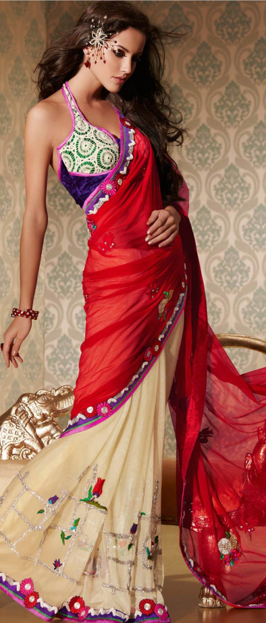 Saree with Halter Blouse