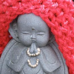 A frosty Jizo statue, Nikko, Japan.