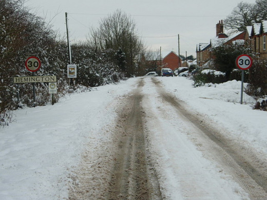 roads covered in snow