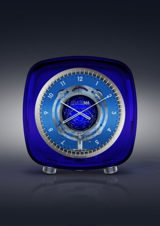 An Atmos 566 in blue Baccarat crystal.