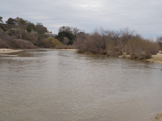 The Salinas River is flowing north toward Salinas  on December 28, 2012.