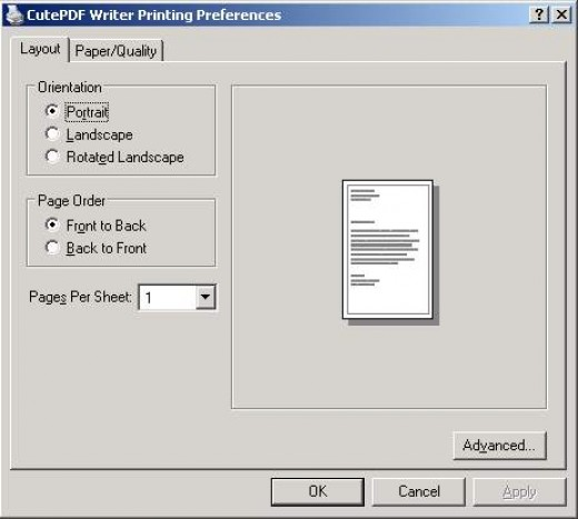 Paper settings