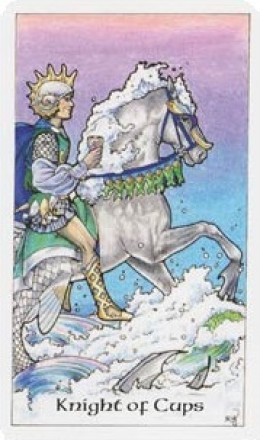 The Knight of Cups from the Robin Wood tarot deck.