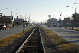 The main road through Morehead City is divided by train tracks