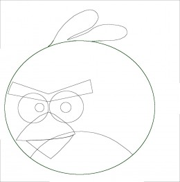The eye brows of this Red Angry Bird are vee shaped setting between the eyes.