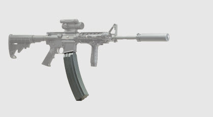 AR-15 with 100 Round High Capacity Magazine