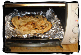 Naan, re-heated in the toaster oven to crisp it up.
