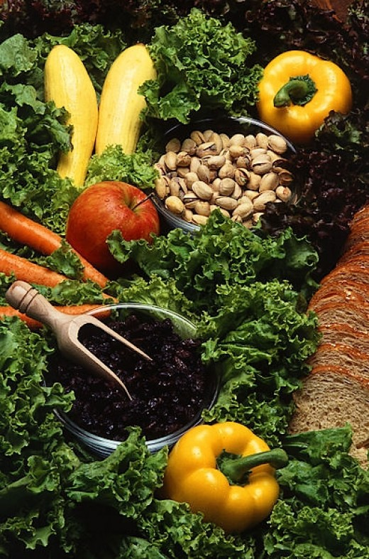 Fruit, vegetables and beans are high in fiber and protein