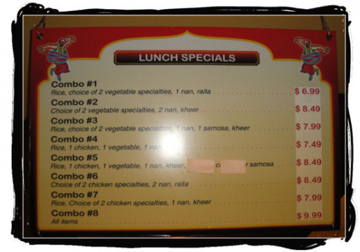 Lunch special menu.
